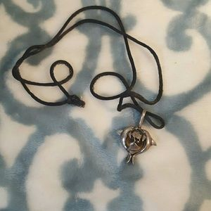 Sterling and tigerseye early 90s dolphin charm